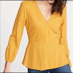 Yellow polka dot wrap blouse